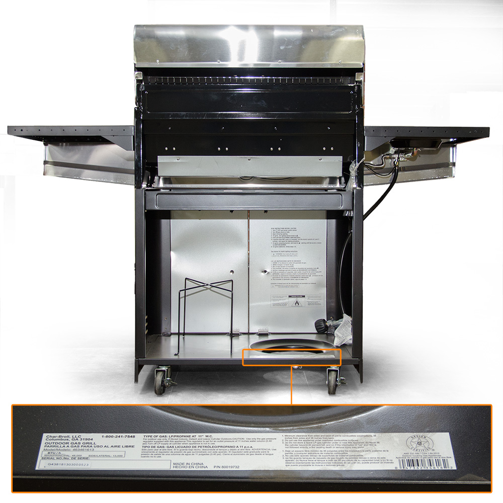 Gas Grill Model Location Bottom Panel